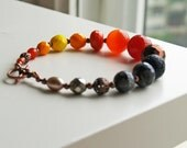Tangerine Tango Orange,Yellow, Black and Gray Beaded Bracelet Nr 2