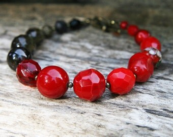 Ruby Red and Black Beaded Bracelet Valentine Day's Gift