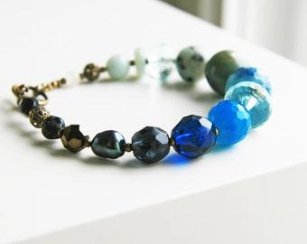 Blue Grey Beaded Bracelete Ocean Inspired