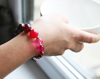 Red Gray Pink Stone Beaded Bracelet Europeanstreetteam Ombre Bracelet