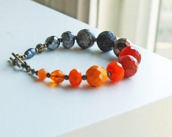 Beaded Bracelet Ombre Orange and Black Bracelet Color Block Multistone Jewelry