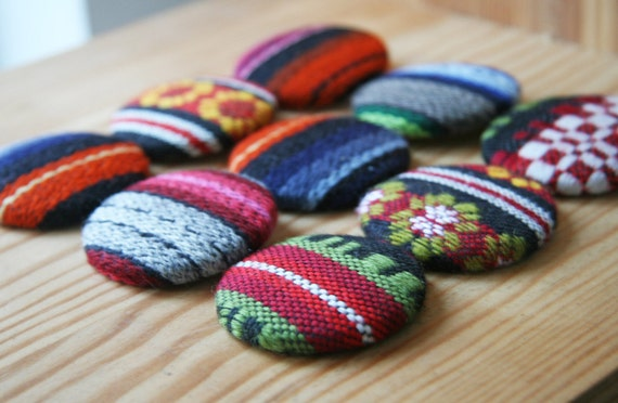 Fabric Button Badge Ethnic Tribal Pin Button Badge Fabric Covered Button Brooch Pin Eco Friendly 1 7/8 inches - size 75