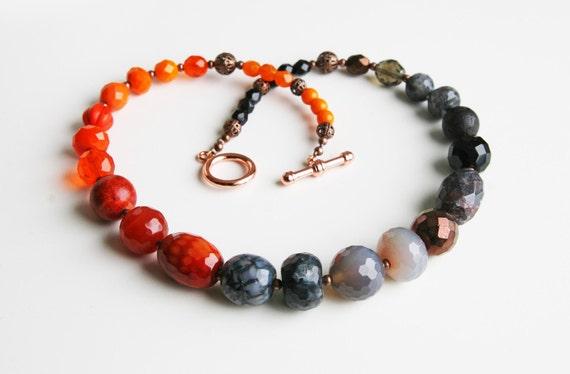 RESERVED for Sarah Ombre Orange Grey Black Gemstone Necklace