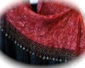Rustic red Shawl with beads and coins