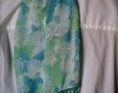 Handbeaded floral blue-green sheer Scarf