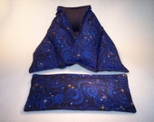 Microwave Hot or Cold Heat Wrap Neck and Shoulder Wrap and Matching Eye Pillow Gift Set in Blue Stargazer