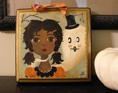 Halloween Girl and Ghost Original Whimsical Folk Art Painting by The Peppermint Forest