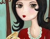 She Has a Heart of Gold Whimsical Folk Art Print