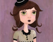 Matilda Top Hat Girl Whimsical Folk Art Print