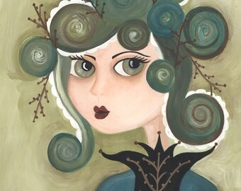 Siren, The Curiously Creeping Coast Print Original Illustration Print from The Peppermint Forest