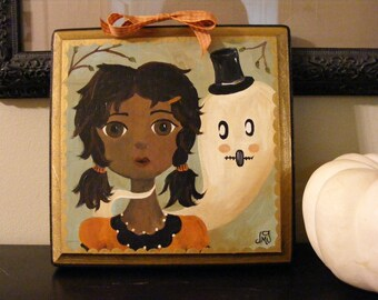 Maddie & Orwell, Halloween Girl and Ghost Original Whimsical Folk Art Painting by The Peppermint Forest