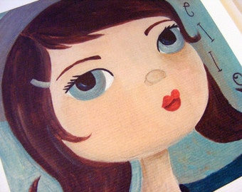 Hello Girl French Girl Folk Art Print by The Peppermint Forest