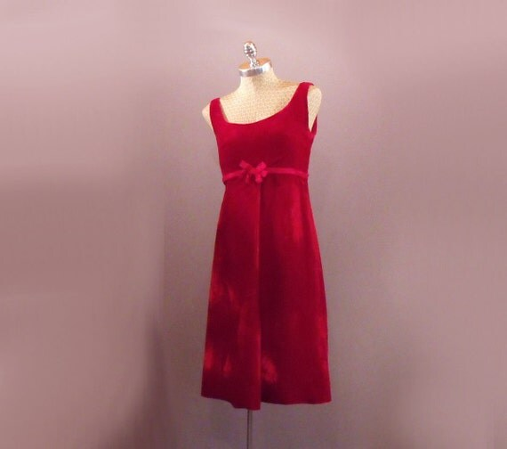 1960s Lord and Taylor Red Velvet Cocktail Dress by MirrorVintage