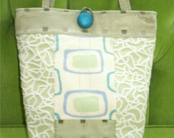 Green and Teal Retro Piecework Tote