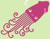 Kids Giant Squid Wall Decal Ocean Underwater Nursery