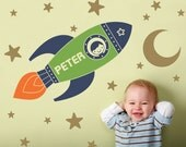 Rocket Boy Wall Decal Personalized Name Outer Space Theme Nursery