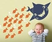 Happy Shark Wall Decal Art Baby Kids Bathroom Decor