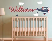 Airplane Name Wall Decal Boy Skywriter for Baby Nursery Children