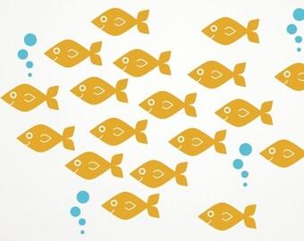 Ocean Nursery Baby Fish Wall Decals, Kids Underwater Sea Life: SWIM LEFT