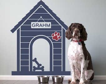 Modern Indoor Dog House Wall Decal Personalized Size Large
