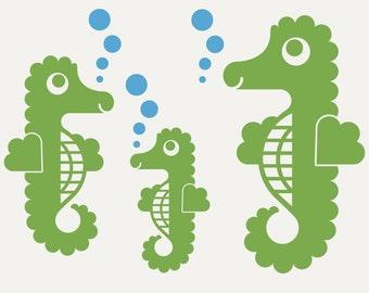 Seahorse Wall Decals Kids Underwater Ocean Nursery