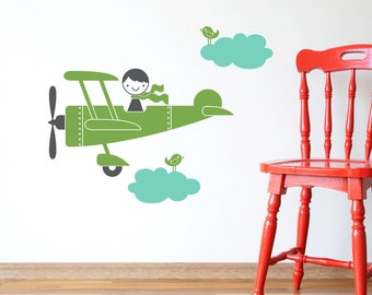 Kids Airplane Boy Wall Decal Baby Nursery Travel Theme
