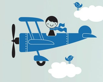 Airplane Wall Decal Cute Airplane Baby Boy Nursery Wall Stickers Removable Vinyl Playroom Kids Decor
