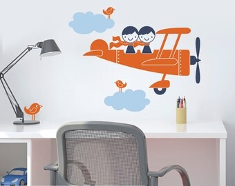 Airplane Wall Decal Sticker Twin Seater Kids Baby Nursery Sibling Decor Boy Girl Play Room