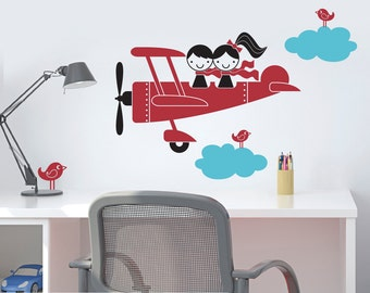 Kids Airplane Wall Decal Twin Seater Baby Nursery Sibling Decor Boy Girl Twins