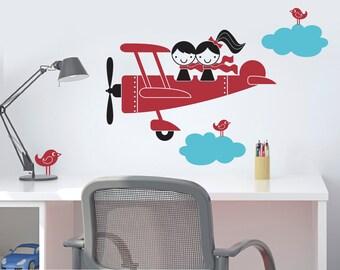 Kids Airplane Wall Decal Twin Seater Baby Nursery Sibling Decor Boy Girl Twins