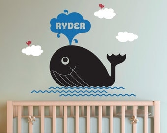 Whale Wall Decal: Kids Personalized Name Nautical Nursery