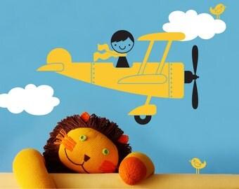 Airplane Boy Wall Decal Nursery Kids Room
