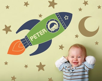 Rocket Wall Decal Boy Name Outer Space Baby Nursery Kids Space Room Decor