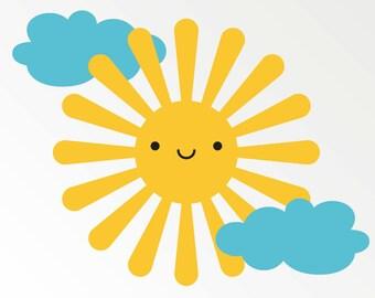 Happy Sun Wall Decal Sticker for Nursery Children Kids