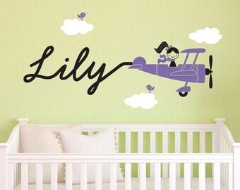 Airplane Girl Wall Decal Personalized Baby Girl Nursery Skywriter Plane