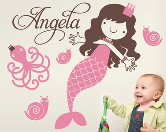 Princess Mermaid Wall Decal Girls Name Ocean Nursery Kids