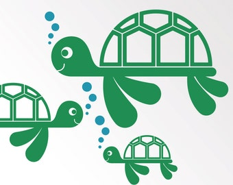 Sea Turtle Wall Decal Stickers for Ocean theme Nursery Baby Children