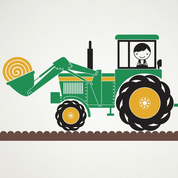 Farm Tractor Hay Wagon Vinyl Wall Decal Stickers
