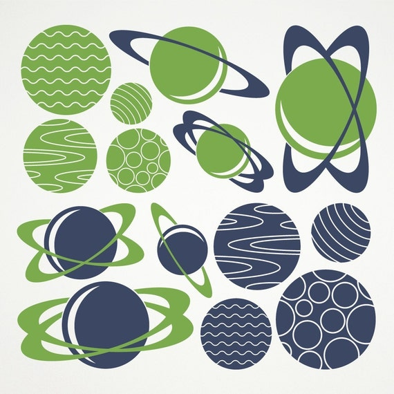 Planet Wall Decals Outer Space Nursery Kids Baby Children