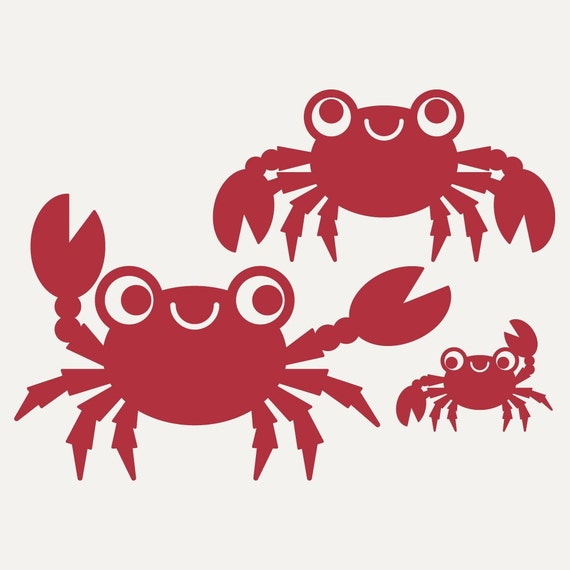Happy Ocean Crab Family Wall Decal Stickers