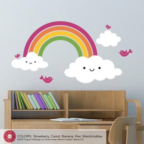 Nursery Happy Rainbow Wall Decal: Kids Rainbow Room