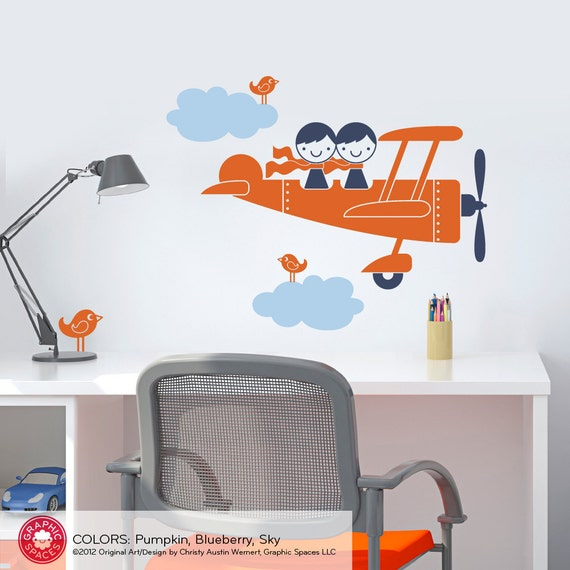 Airplane Wall Decal Sticker Twin Seater Kids Baby Nursery