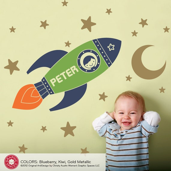 Rocket Boy Wall Decal Personalized Name Outer Space Baby Nursery