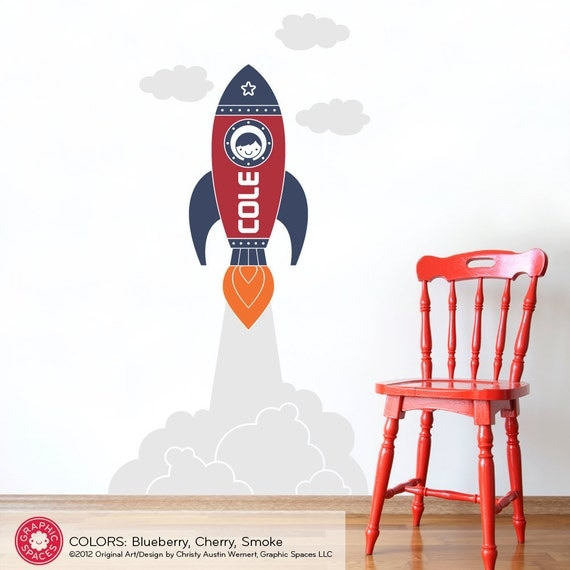 Rocket wall decal sticker outer space launch boy name children for Outer space vinyl wall decals