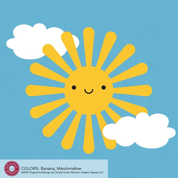Happy Sun Decal Wall Sticker for Children Baby Nursery