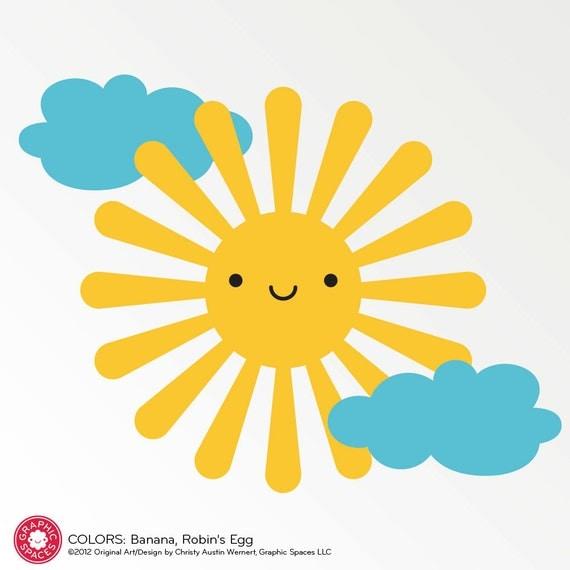Happy Sun Vinyl Wall Decal for Kids Baby Nursery Children