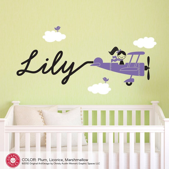 Airplane Girl Wall Decal Personalized Name Baby Girl Travel Nursery Theme Skywriter Cute Vintage Plane Cursive Script