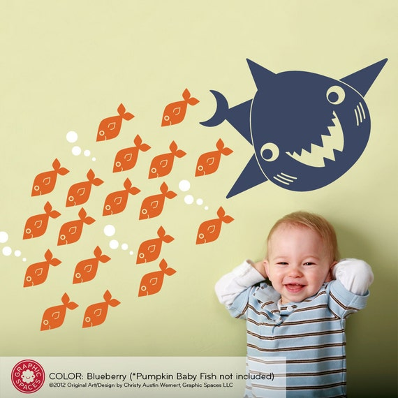Happy Shark Wall Decal Art Baby Kids Bathroom Decor