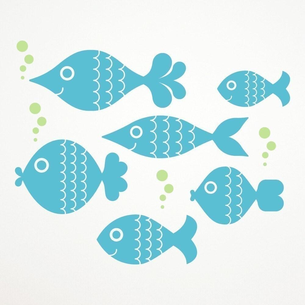 Ocean Big Fish Wall Decals Kids Ocean Nursery by graphicspaces
