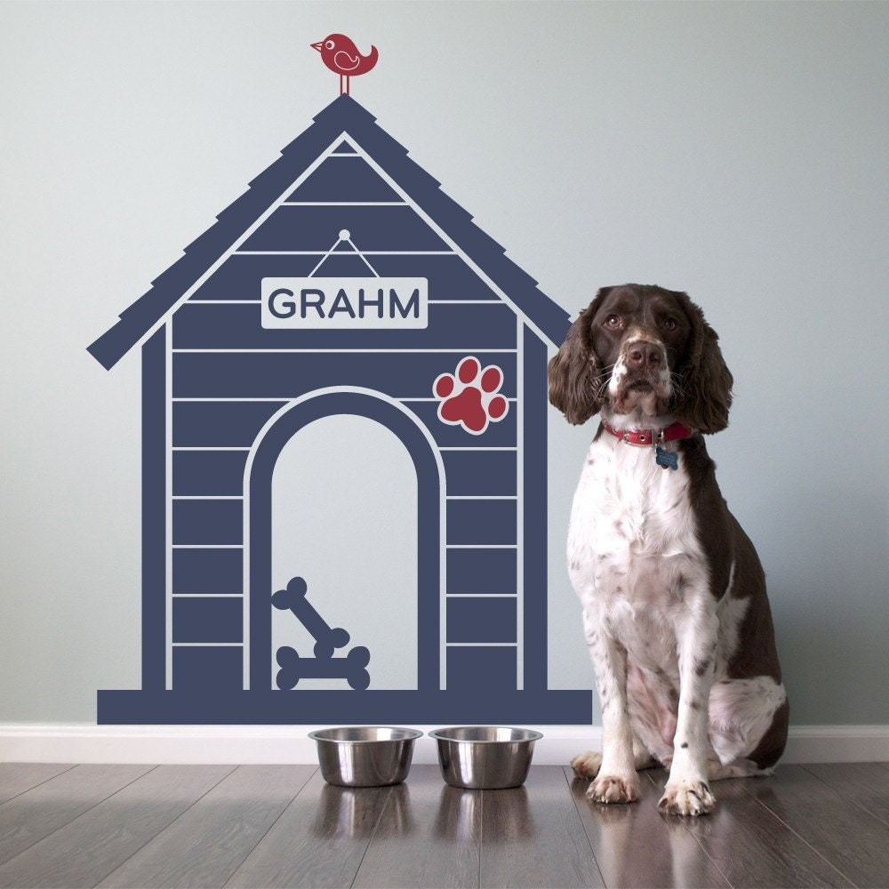 Indoor dog house - Dog House Wall Decal Personalized Pet Name Room Sign Puppy Decor Kids Dog Theme Room